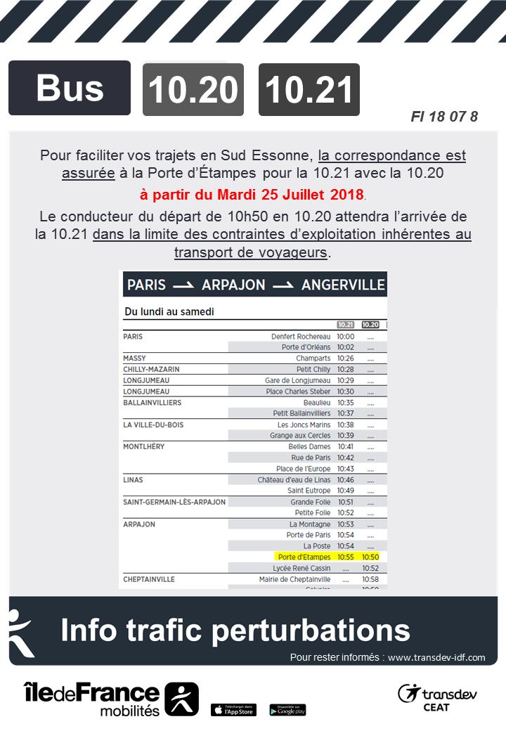 Correspondance à Porte d'Étampes lignes 10.20 et 10.21