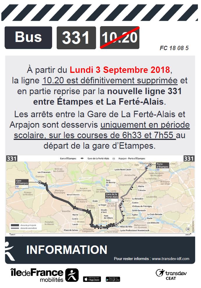 Nouveauté rentrée 2018 Ligne 331
