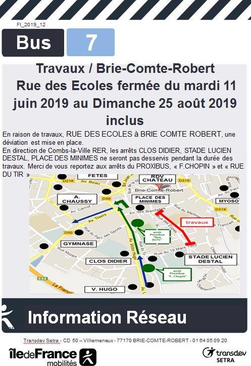 Lignes 7 - BRIE COMTE ROBERT - Travaux