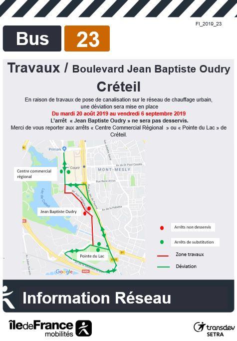 Ligne 23 - Créteil - Travaux