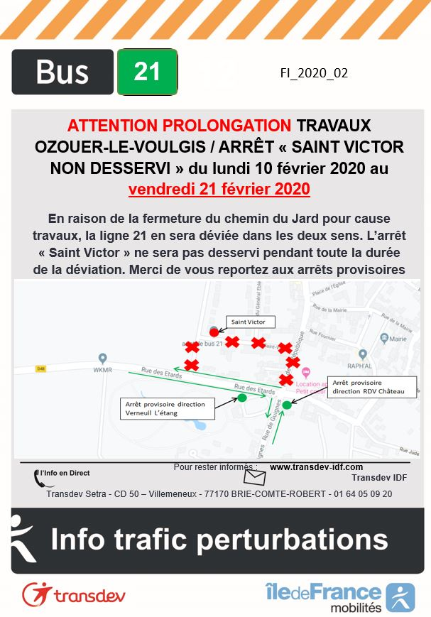Ligne 21 - Ozouer-le-voulgis - Travaux