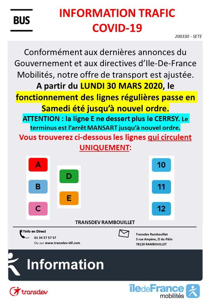Transdev Rambouillet - Info Trafic Covid-19