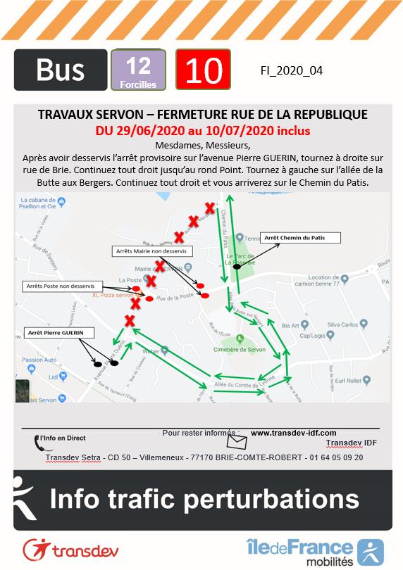 Ligne 10 12 14 - Travaux SERVON