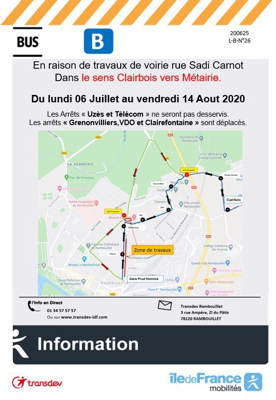 Transdev Rambouillet Travaux Ligne B