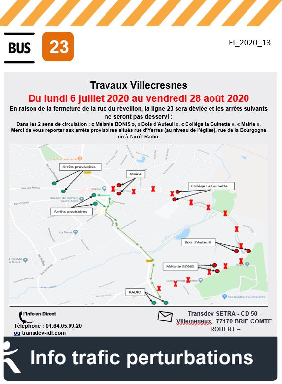 Ligne 23 - Villecresnes - Travaux