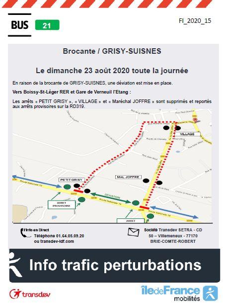 Ligne 21 - GRISY-SUISNES - Déviation