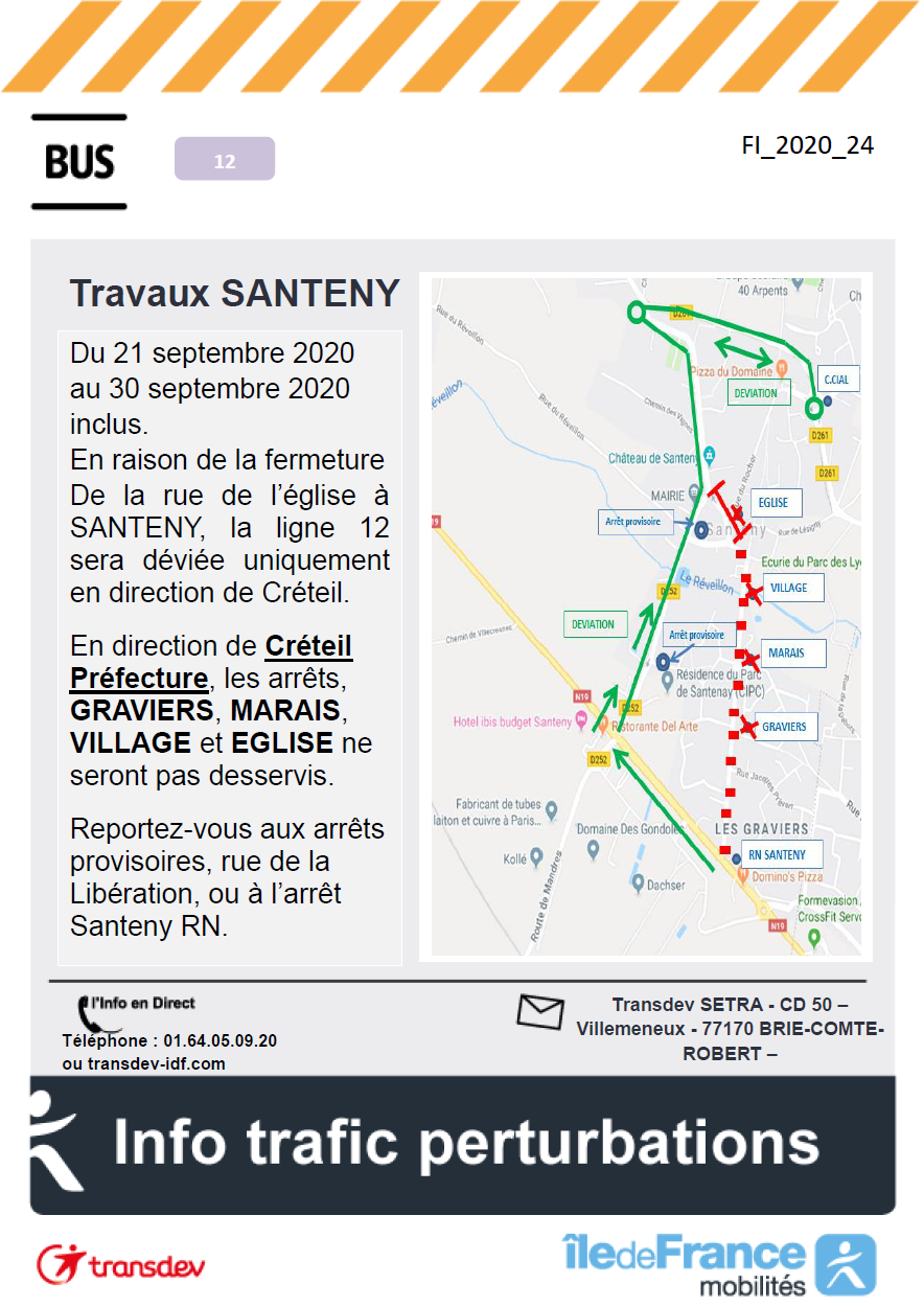 Ligne N°12 - Santeny- Travaux