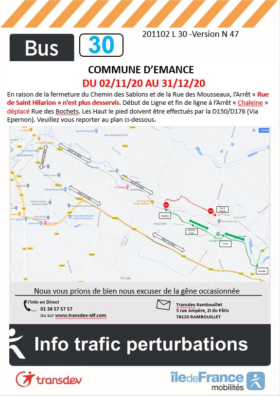 Transdev Rambouillet Travaux Ligne 30