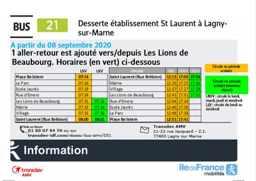 Ligne 21-bus supplémentaire / Croissy Beaubourg