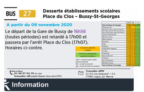 Ligne 27-modification horaires à/p 09/11/2020