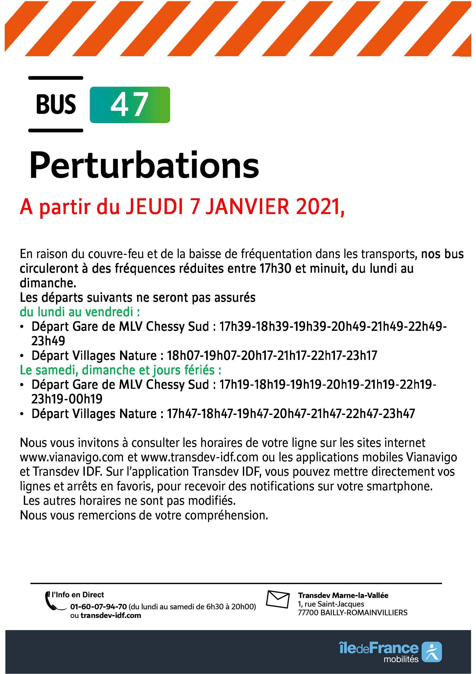 Ligne 47 - adaptation de l'offre à/p du 7 janvier