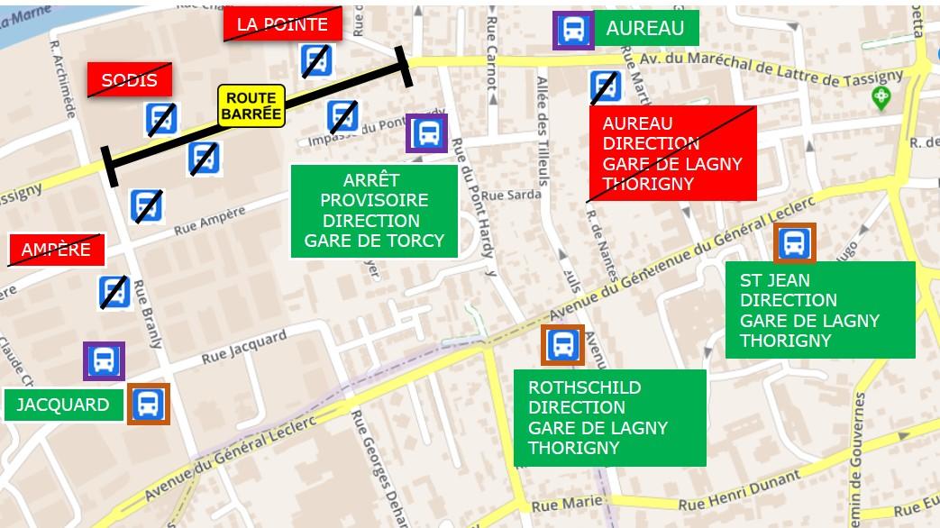 Ligne 29 travauix Lagny 07/06 au 20/08 2021