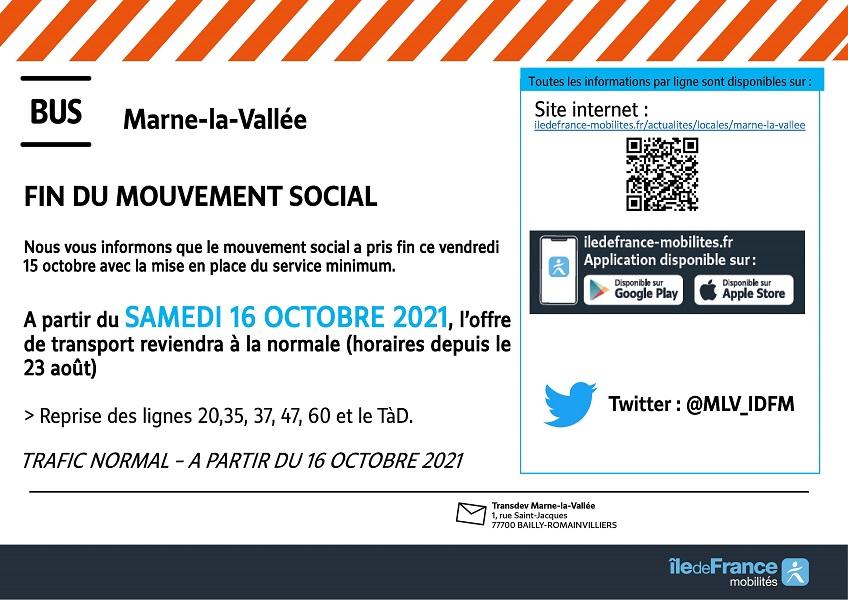 Marne-la-Vallée Fin du mouvement social 16/10/2021